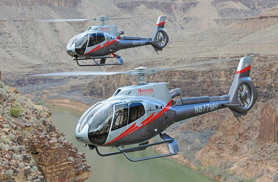 Helicopter flying over the Grand Canyon