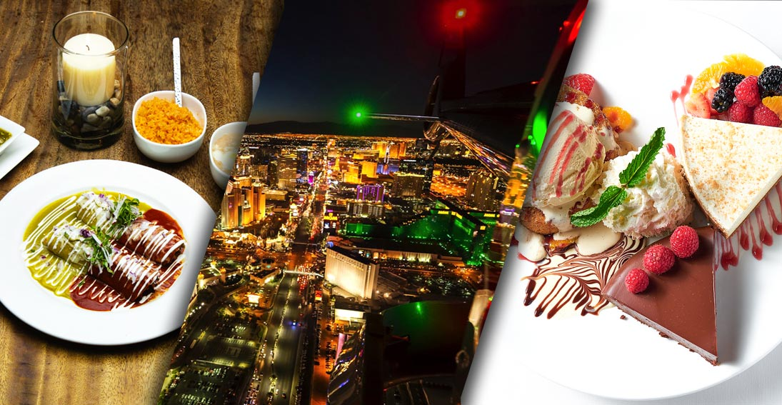 Experience a Las Vegas night flight and foodie tour in one amazing night