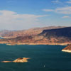 Lake Mead seen from inside our helicopter.