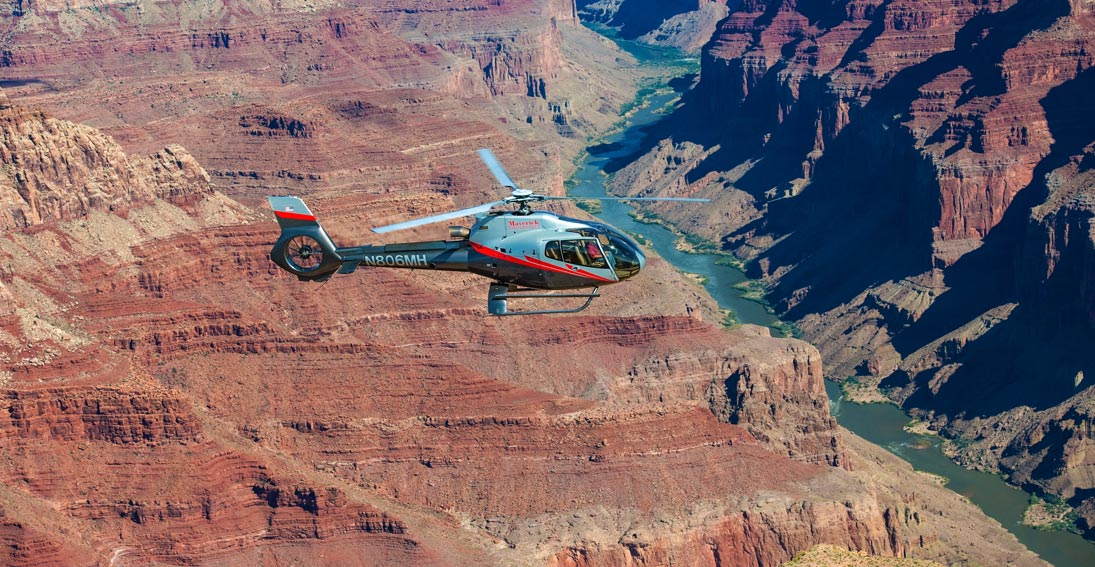 Appreciate the views from inside an ECO-Star helicopter on a Grand Canyon South Rim helicopter ride