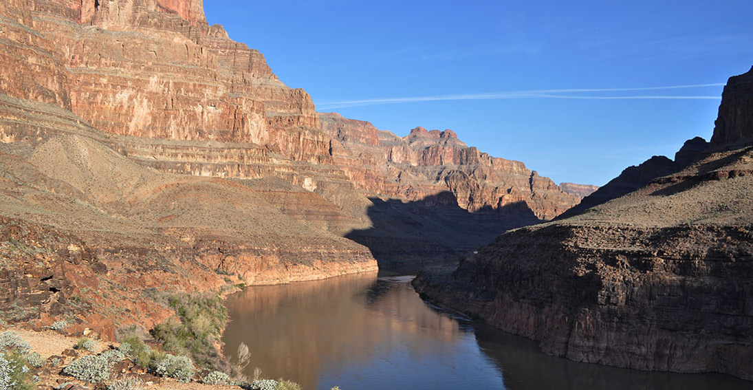The grandeur of the Grand Canyon from above the Colorado River