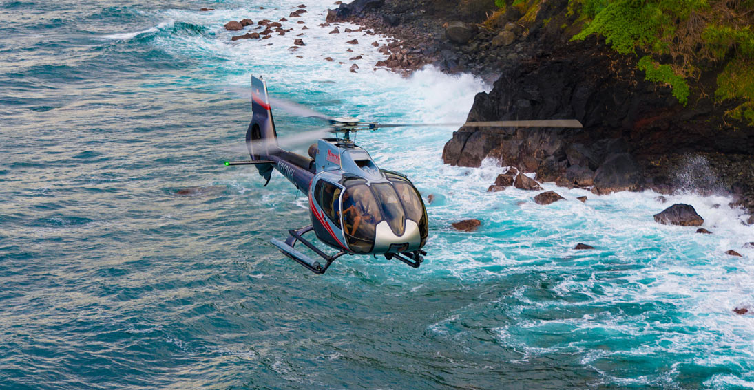 Helicopter tour of Maui with highlights of shorelines and Jurassic Rock
