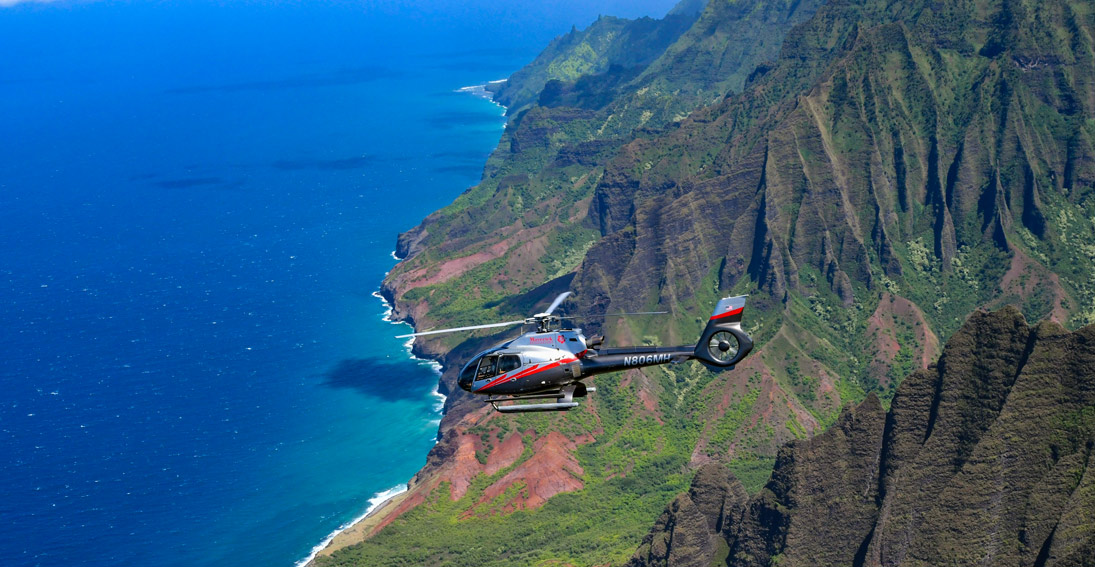Enjoy views flying over the Na Pali Coast on your Kauai helicopter ride