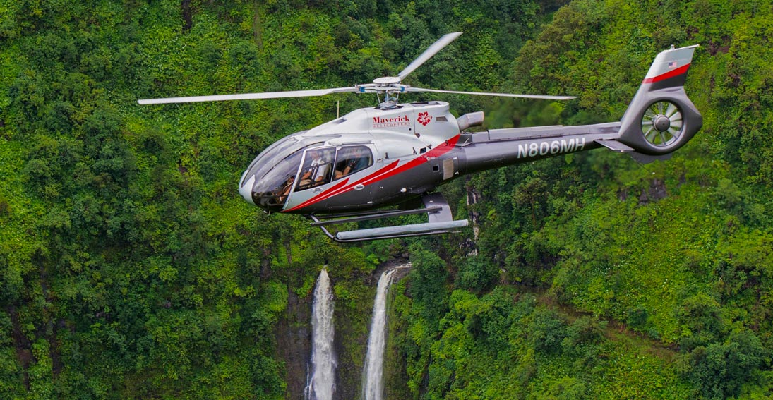 Helicopter flight and views of Maui's amazing waterfalls