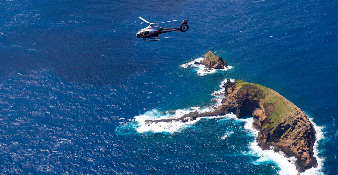 Capture views of the iconic Elephant Rock on your Molokai helicopter tour