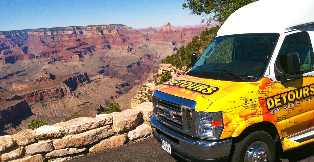 Experience a guided ground tour with helicopter flight over Grand Canyon South Rim
