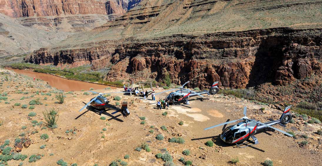 Helicopter flight and landing at the bottom of the Grand Canyon