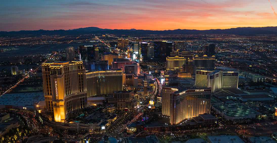 Amazing views from inside the helicopter as Las Vegas comes to life