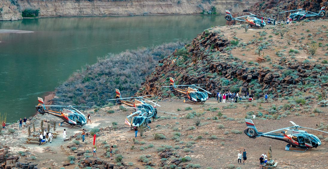 A landing 300ft above the Colorado River; our customer favorite Grand Canyon tour