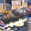 See Vegas at dusk and the dancing fountains of the Bellagio.