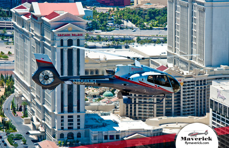Enjoy views of the Vegas strip and the Caesars Palace.