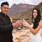 Inside the Grand Canyon, bride and groom toast to their special day