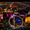 The glowing colors of the Vegas Strip on a city air tour