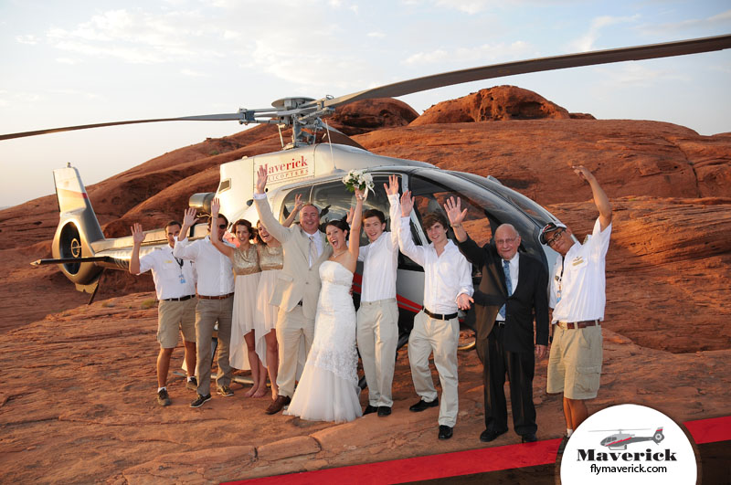 Happy wedding party with Maverick Pilots