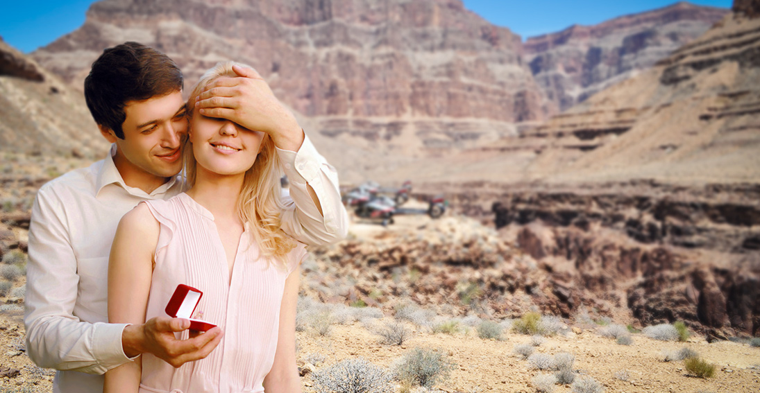 You will toast to your engagement 300 feet above the Colorado River surrounded by the canyon walls
