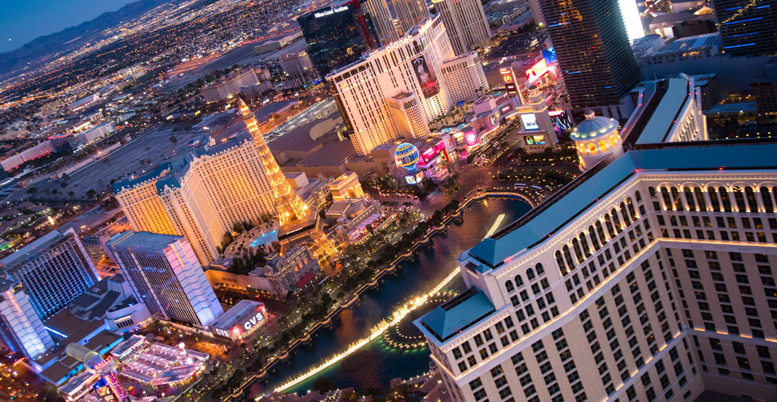Fly over the world famous Las Vegas Strip