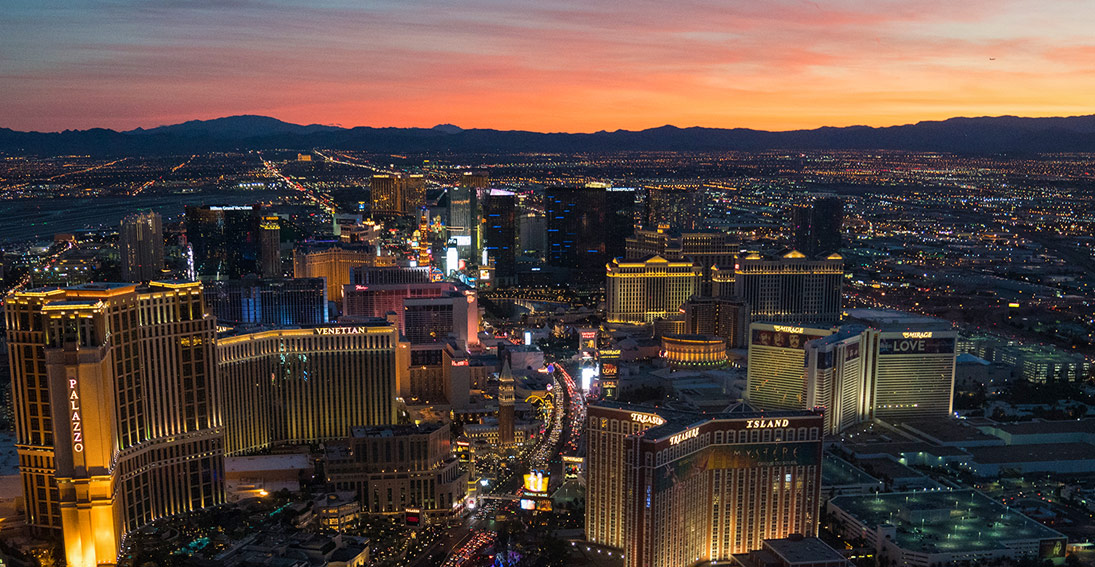 Sunset views of the Las Vegas Strip on your sunset proposal with Maverick Helicopters