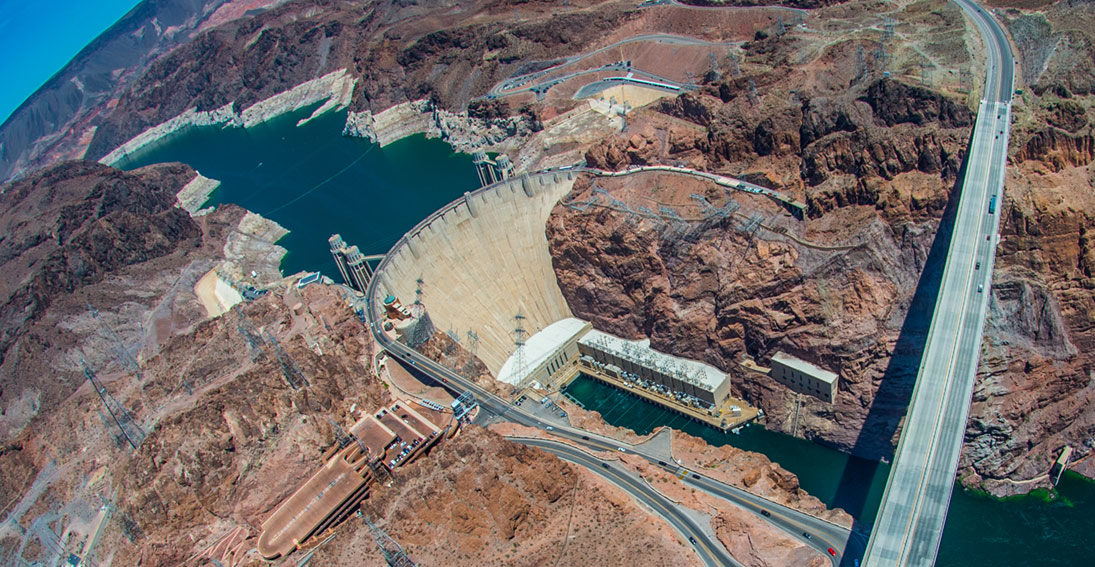 Capture breathtaking views of Hoover Dam and Lake Mead on your way to the Grand Canyon