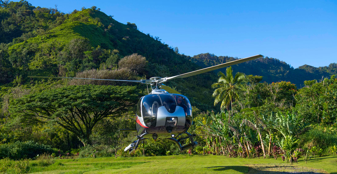 Land in the heart of the Hana Rainforest on this Maui helicopter wedding