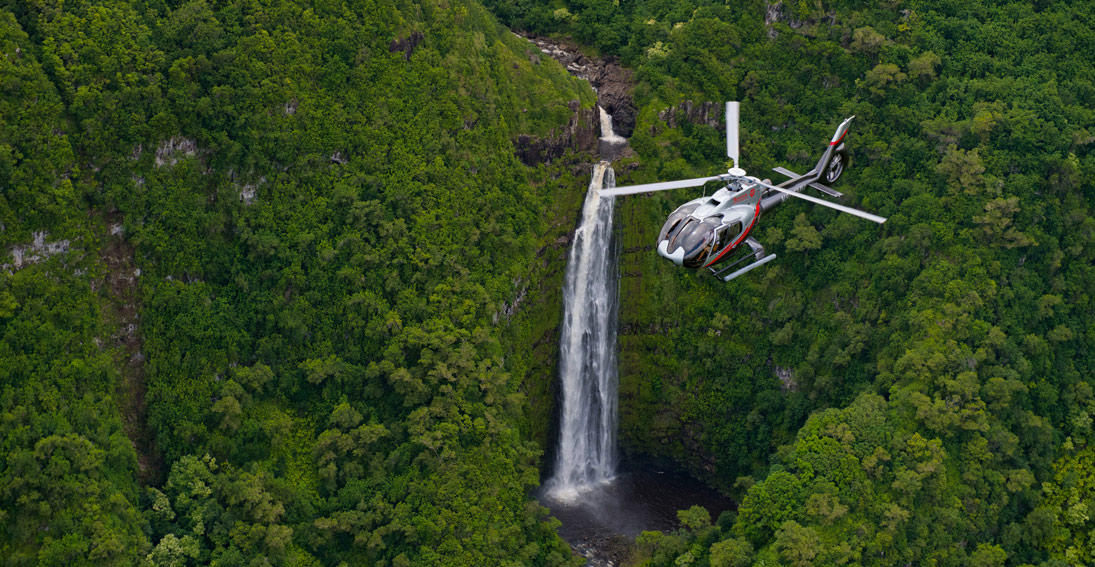 Flowing Maui waterfalls create a stunning backdrop to your helicopter wedding