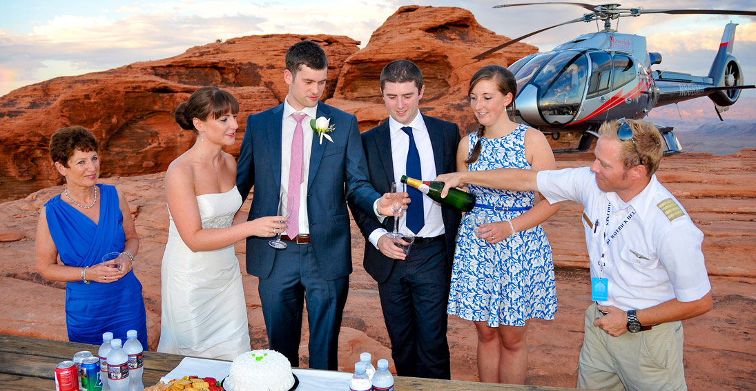 Toast to your nuptials with your family and friends overlooking over the Valley of Fire