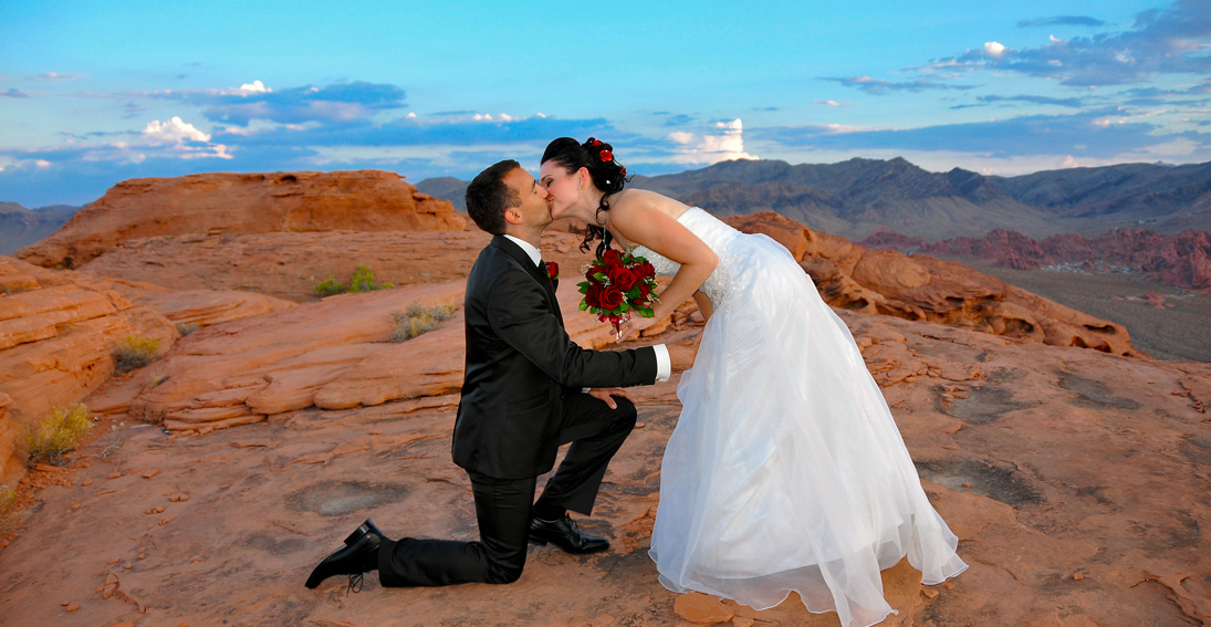 Sealed with a kiss overlooking the Valley of Fire's red rock formations