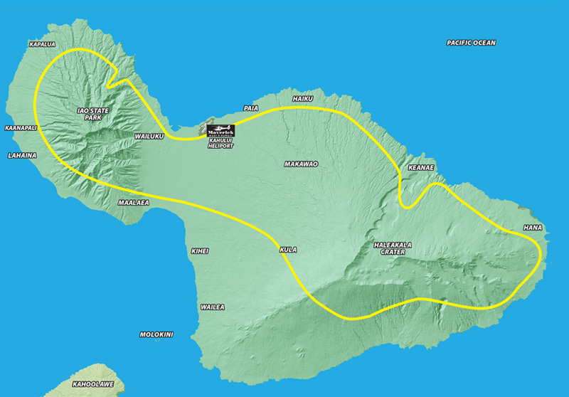 Maui Dream helicopter tour flight map