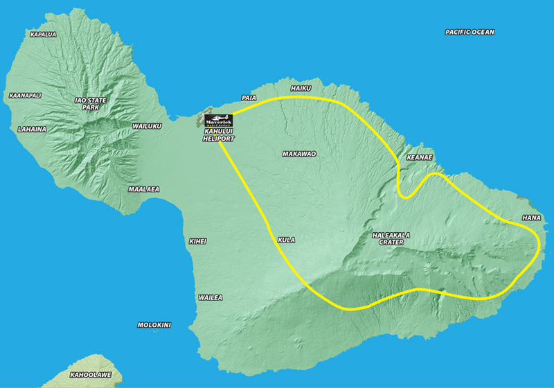 Hawaii helicopter tour route for Maui Spirit
