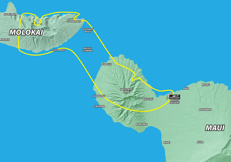 Molokai and Maui helicopter tour route